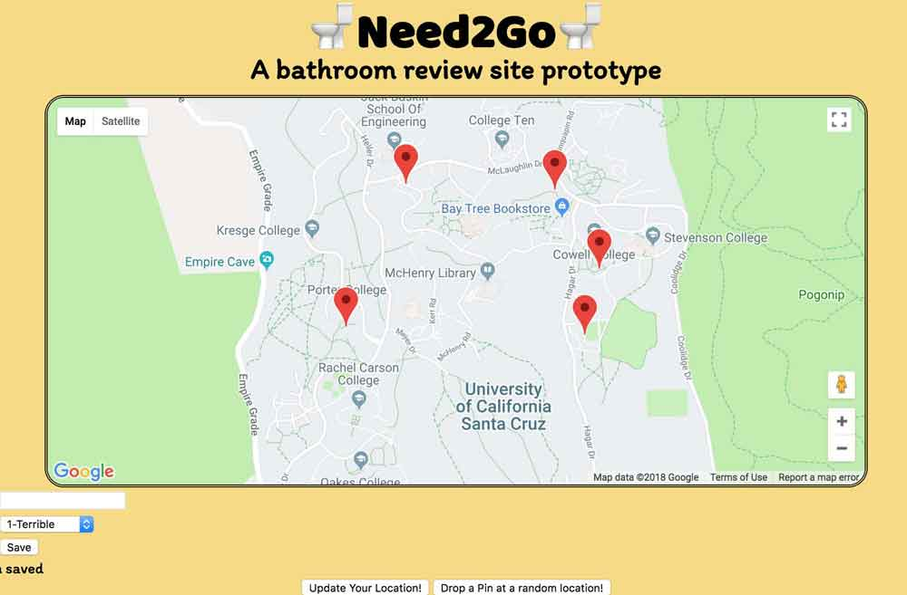 Need2Go is a prototype restroom review site for campus facilities. Made using Node.js/Express, AngularJS. Role: Backend Developer<br><a href='https://github.com/runyanjake/JRAW-CruzHacks-2018'>Repository</a>